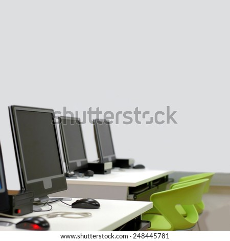 detail of computer room with lcd screens  - stock photo