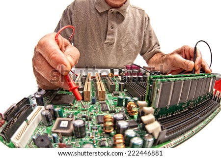 detail of computer technician at work - stock photo