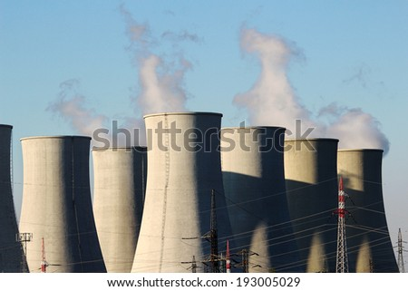 detail of cooling towers of nuclear power plant - stock photo