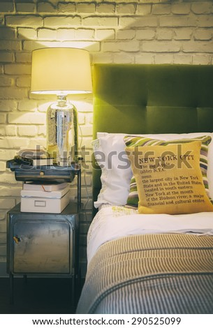 detail of cozy home bedroom  - stock photo