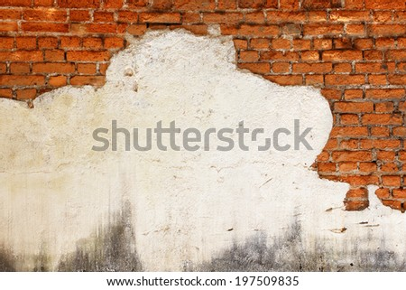Detail of cracked concrete vintage brick wall background