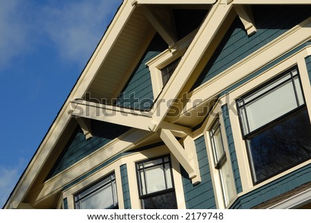 Detail of Craftsman Style house in autumn. - stock photo