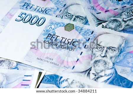 Detail of czech money - the czech currency - stock photo