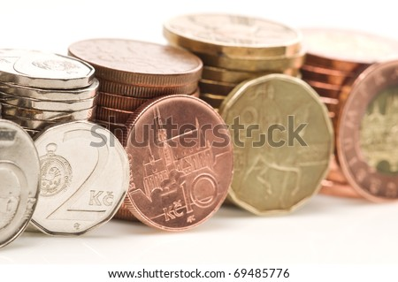 Detail of Czech Republic currency on desk - stock photo