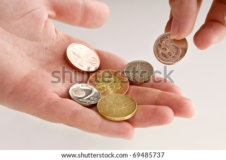 Detail of Czech Republic currency with hand - stock photo