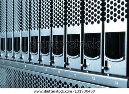 detail of data center with hard drives