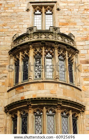 Detail of Davenport College facade, Yale university - stock photo