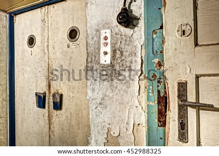 Detail Of Dirty Door And Elevator