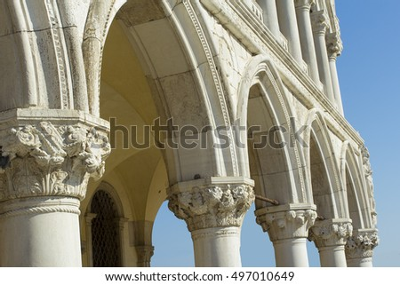 Detail of Doge's Palace in Venice, Italy