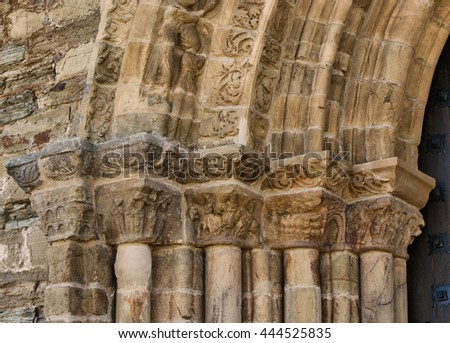 Detail of Door of Forgiveness on romanesque church of Santiago in Villafranca del Bierzo, Leon, Castilla-Leon, Spain