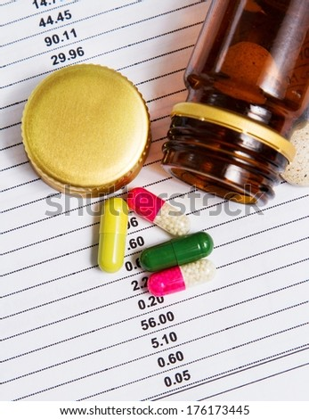 Detail of drugs removed from the container - stock photo