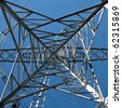Detail of electricity pylon against blue sky - stock photo
