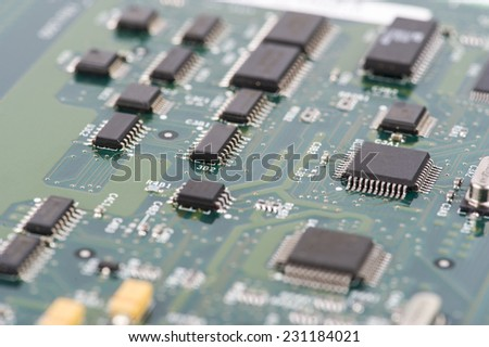 Detail of electronic board. Close-up of electronic circuit board with processor
