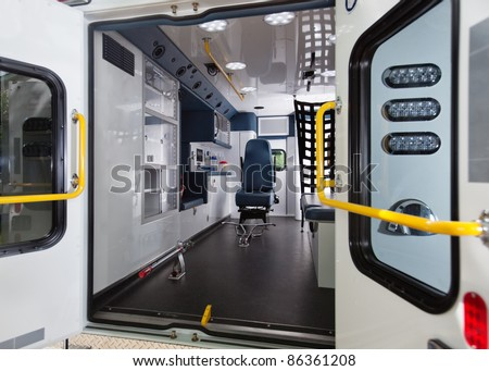 Detail of empty ambulance interior emergency vehicle - stock photo