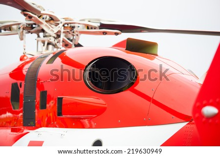 Detail of engine of rescue helicopter ready to take off from airport in case of disaster/injured tourist/car crash - stock photo
