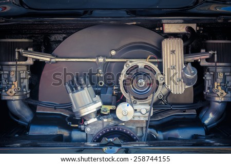 Detail of engine retro car - stock photo