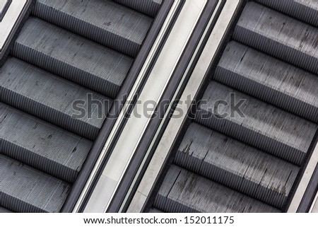 Detail of escalators in an underground station. Black and White - stock photo