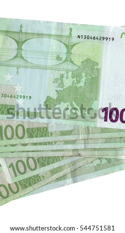 Detail of Euro banknotes money - European currency - vertical