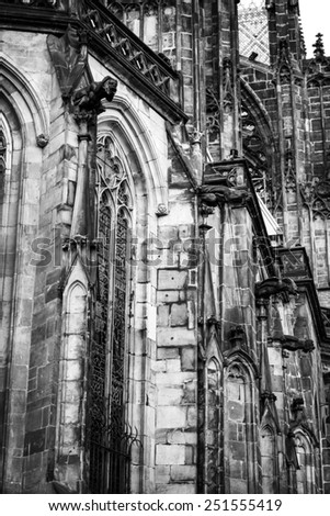 Detail of exterior of St Vitus Cathedral in Prague (Praha), Czech Republic - stock photo