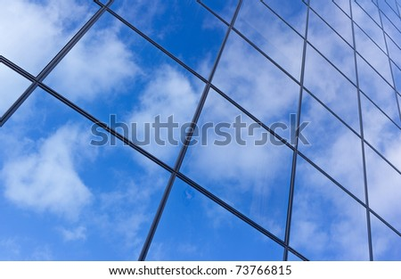 Detail of facade of corporate glass highrise - Denmark - stock photo