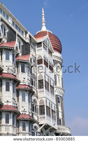 detail of facade of the Taj Mahal Palace - favourite destination for business travellers, Mumbai ( formerly Bombay ), India - stock photo