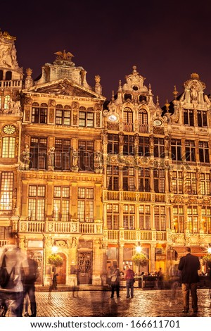 Detail of facades in Grand Place in Brussels at night. Belgium. - stock photo