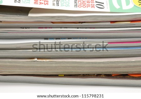 detail of fashion magazines stacked - stock photo