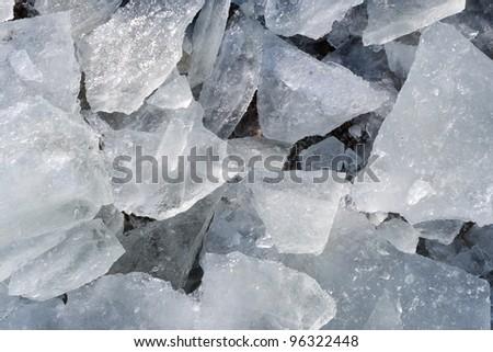Detail of few  big pieces of broken ice - stock photo