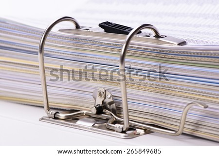 detail of file folder with documents - stock photo