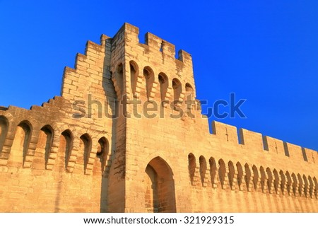 Detail of fortified walls defending the old town of Avignon, Provence, France - stock photo