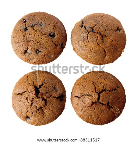 Detail of four gluten free muffins with blueberries isolated on white background - stock photo