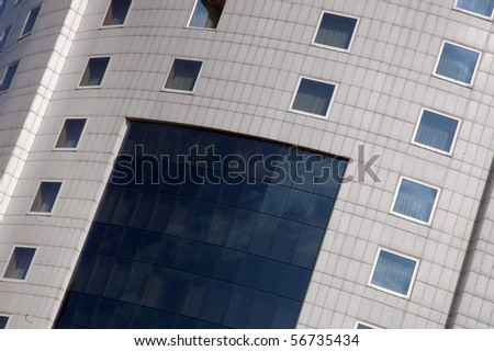 Detail of four stars hotel facade - stock photo