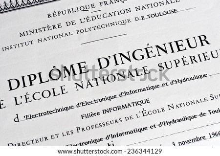 Detail of french anonymous engineer diploma (Diplome d'ingenieur = Engineer diploma)