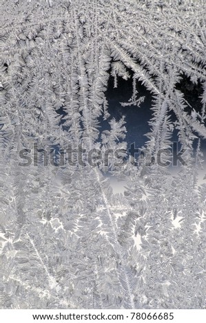 Detail of Frost on glass in window