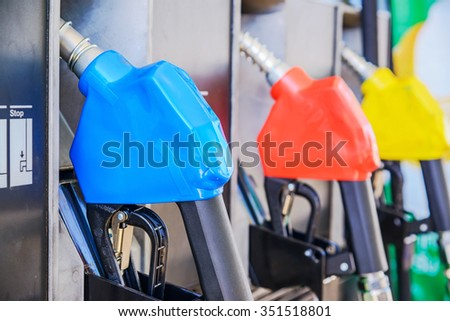 Detail of Fuel nozzle in a gas station