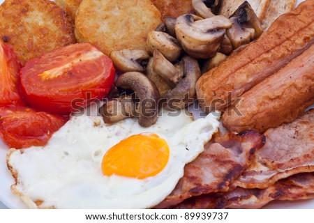 Detail of full English Breakfast - stock photo