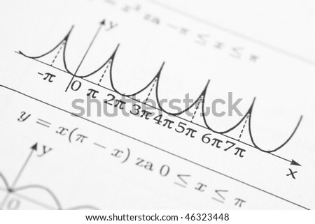 Detail of function graph in math reference book