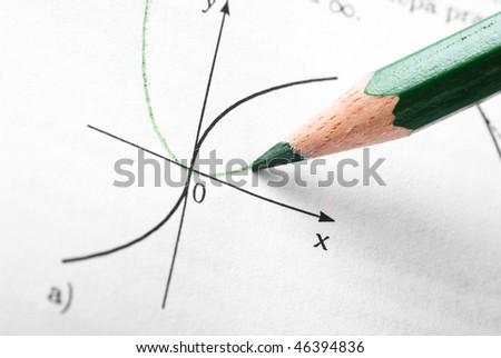 Detail of function graph in math reference book - stock photo