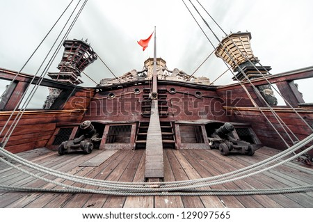 Detail of Galeone Neptune ship, tourist attraction in Genoa, Italy - stock photo