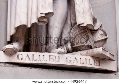 Detail of Galileo sculpture in Florence - stock photo