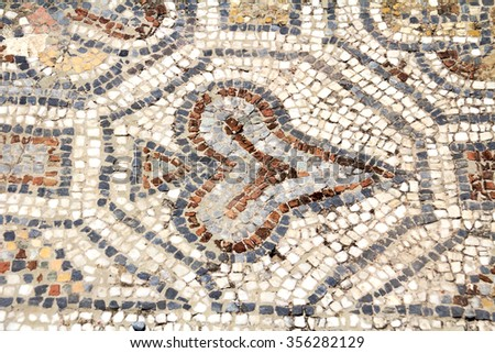 Detail of geometric mosaic, ancient Greek and Roman city of Ephesus, Selcuk, izmir, Turkey - stock photo