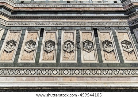 Detail of Giotto's Campanile in Florence, Italy