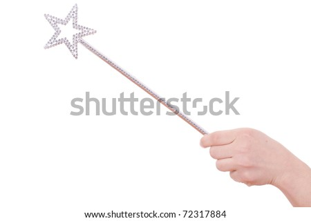detail of girls arm and hand with magic wand