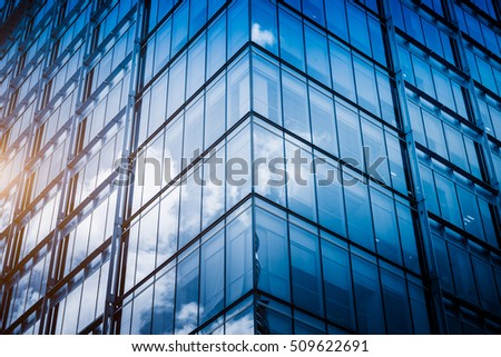 detail of glass architectures in blue tone.