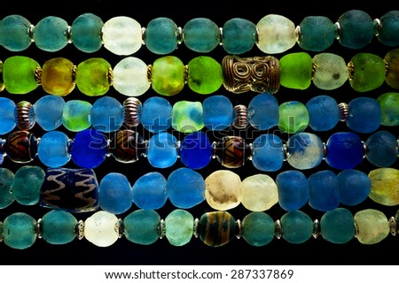Detail of Glass Beads in polarized Light - stock photo
