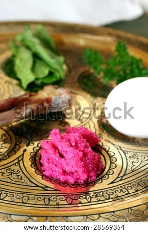 Detail of Gold Passover Seder Plate - stock photo
