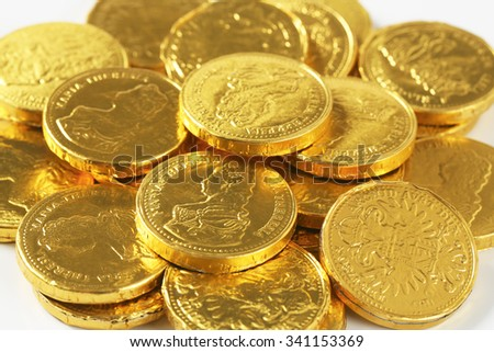 detail of golden chocolate coins pile