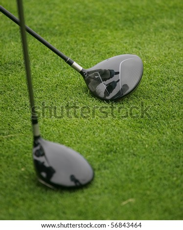 detail of golf course - stock photo
