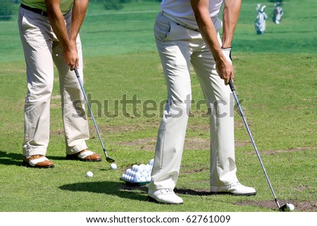 detail of Golfers - stock photo