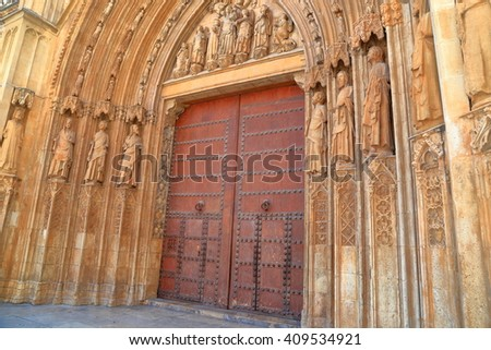 Detail of Gothic architecture of the Metropolitan Cathedral (Basilica of the Assumption of Our Lady of Valencia / Saint Mary's Cathedral / Valencia Cathedral), Valencia, Spain - stock photo